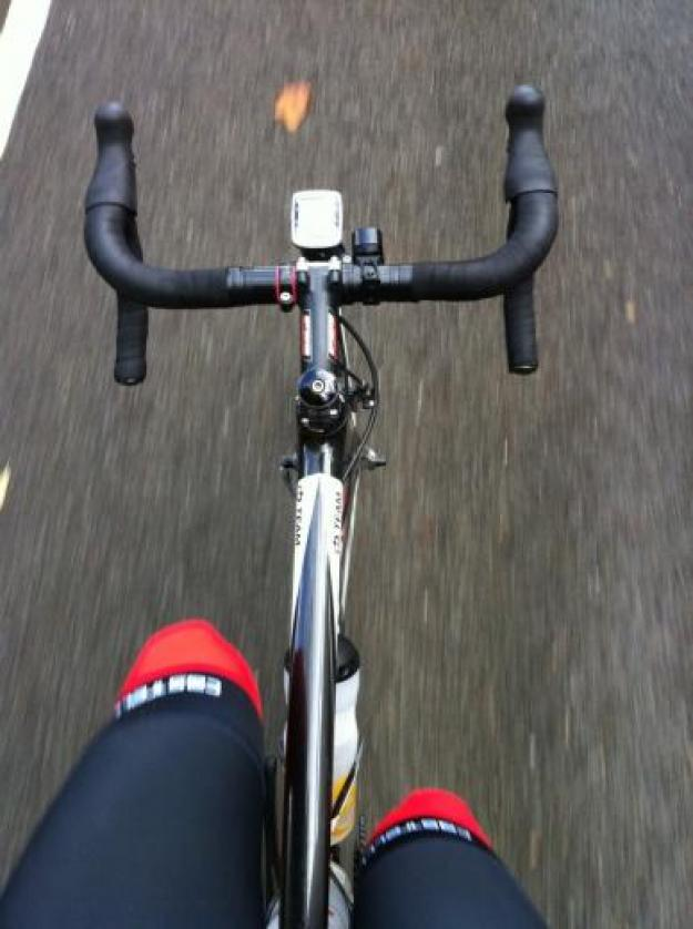 A cyclists view of there bike in action